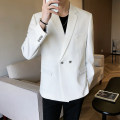 man 's suit White, black Others Fashion City routine M. L, XL, 2XL, s small, XS plus small Self cultivation Double breasted Other leisure Back middle slit youth Long sleeves autumn routine tide Casual clothes Flat lapel Round hem Solid color Regular collar (collar width 7-9cm) Digging bags with lids