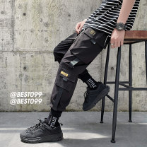 Casual pants Others Youth fashion Black, khaki, army green S. M, l, XL, 2XL, 3XL, 4XL, 5XL, XS plus small routine Ninth pants Other leisure easy Micro bomb Four seasons youth tide 2020 middle-waisted Little feet Polyester 100% Overalls Sticking cloth No iron treatment Solid color other