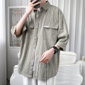 shirt Youth fashion Others M. L, XL, 2XL, s small, XS plus small White, black, light green routine square neck elbow sleeve easy Other leisure summer teenagers Polyester 100% like a breath of fresh air 2021 stripe Color woven fabric No iron treatment cotton Splicing Easy to wear