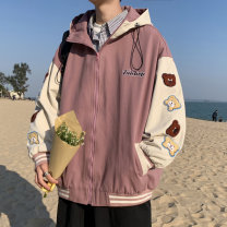 Jacket Other / other Youth fashion Blue, black, pink M. L, XL, s small, XS plus small routine easy Travel? spring Long sleeves Wear out Hood Youthful vigor teenagers Zipper placket 2021 Rib hem Bag digging with open cut thread