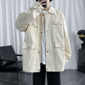 Jacket Other / other Youth fashion Black, off white M. L, XL, 2XL, 3XL, s small, 4XL, 5XL, XS plus small routine standard Other leisure spring Long sleeves Wear out stand collar Basic public routine Single breasted 2021 Cloth hem washing Closing sleeve Solid color More than two bags) Cover patch bag