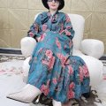 Dress Winter 2020 Decor Small, large longuette singleton  Long sleeves commute Crew neck Loose waist Decor Socket Big swing routine 25-29 years old Type A printing polyester fiber