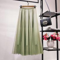 skirt Autumn of 2019 Average size Mid length dress Versatile High waist A-line skirt Type A Pleating, bright silk, pleating, gauze, stitching