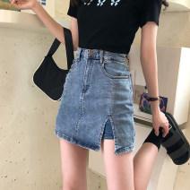 skirt Summer 2020 S,M,L,XL Blue, blue + belt, 5091 white Short skirt commute High waist skirt other Type A 18-24 years old 30% and below other Chains, pockets, buttons Korean version