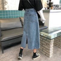 skirt Autumn 2020 S,M,L,XL Blue, blue + belt, 3609 blue Mid length dress commute High waist Denim skirt Solid color Type A 18-24 years old 31% (inclusive) - 50% (inclusive) Other / other Korean version