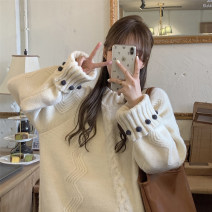 sweater Winter 2020 Average size grey , Milky white , 2849 white Long sleeves Socket singleton  Medium length other 30% and below Crew neck thickening commute routine Keep warm and warm 18-24 years old