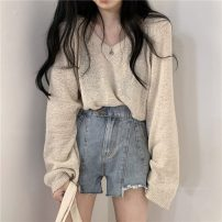 Wool knitwear Summer 2020 One size fits all, s, m, l Apricot, blue, black 9213 Long sleeves singleton  Socket other 31% (inclusive) - 50% (inclusive) routine commute easy V-neck routine Solid color Socket Korean version 18-24 years old