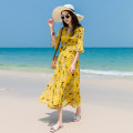 Dress Summer 2020 Red, yellow S,M,L,XL,2XL,3XL,4XL longuette singleton  elbow sleeve Sweet V-neck High waist Decor other Big swing pagoda sleeve Others 25-29 years old Type X Other / other printing More than 95% Chiffon polyester fiber Bohemia