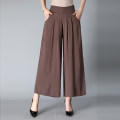 Casual pants XL,2XL,3XL,4XL Summer 2021 Ninth pants Wide leg pants High waist Versatile Thin money 40-49 years old other Button cotton