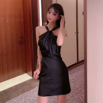 Dress Summer 2020 White, black, pink S M L Short skirt singleton  Sleeveless Sweet Crew neck High waist Solid color Socket A-line skirt other Hanging neck style 18-24 years old Type A Qiansha'er Pleated lace up zipper 0J6939 More than 95% other Other 100% Ruili Pure e-commerce (online only)