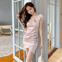 Dress Summer 2020 Pink black white S M L Short skirt singleton  Short sleeve Sweet square neck High waist Solid color Socket A-line skirt puff sleeve Others 18-24 years old Type A Qiansha'er Open back fold lace 0J6915 More than 95% other Other 100% Ruili Pure e-commerce (online only)