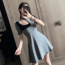 Dress Summer 2020 Pink grey S M Short skirt singleton  Short sleeve Sweet other High waist Solid color Socket A-line skirt routine Others 18-24 years old Type A Qiansha'er Open back stitching 0G6312-1 More than 95% other Other 100% Ruili Pure e-commerce (online only)