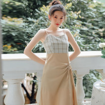 Dress Summer 2021 Khaki, Avocado Green S,M,L Middle-skirt singleton  Sleeveless commute High waist lattice zipper A-line skirt other camisole 18-24 years old Type A Other / other literature 31% (inclusive) - 50% (inclusive) other other