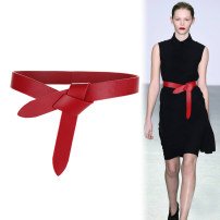 Belt / belt / chain Sheepskin Red brown black female belt Versatile Single loop Middle aged youth soft surface 3cm Bows Eyof / yiyuanfang W-824 Spring of 2019