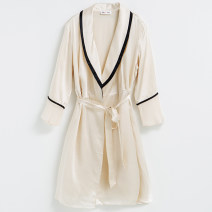 Nightgown / bathrobe Other / other female Off white, light pink Thin money sexy silk summer More than 95% Short (Mid Thigh to knee) silk Solid color youth Hot drill decoration