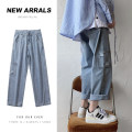 Jeans other Others M,L,XL,2XL Black, blue routine Ninth pants Other leisure teenagers Medium low back like a breath of fresh air Straight foot zipper