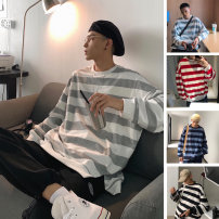 Sweater Youth fashion Others Gray, black, red, light blue, navy M,L,XL,2XL stripe Socket routine Crew neck autumn easy leisure time teenagers tide Off shoulder sleeve other washing