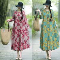 Dress Spring of 2019 Mid length dress singleton  Long sleeves commute Crew neck Loose waist Decor Socket Irregular skirt routine Type A ethnic style Pocket, resin fixation, printing 71% (inclusive) - 80% (inclusive) brocade cotton