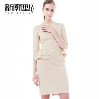 Dress Summer of 2018 Beige S XL L M Middle-skirt Fake two pieces three quarter sleeve commute Crew neck middle-waisted Solid color Socket One pace skirt routine Others 25-29 years old Type X New profile Ol style Asymmetric zipper with ruffle stitching X18LYQ633 91% (inclusive) - 95% (inclusive)