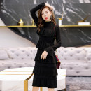 Dress Spring 2020 black M,L,XL,2XL Mid length dress singleton  Long sleeves commute Crew neck middle-waisted Solid color Socket Cake skirt other Others Type X Other / other