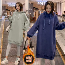 Sweater / sweater Grey, dark blue Other / other M,L,XL,XXL Hood No detachable cap Korean version Plush Long sleeves Solid color
