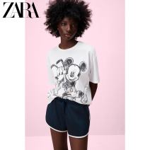 T-shirt white S (165/84A) M (170/88A) L (175/96A) XL (175/100A) Summer 2021 Short sleeve Crew neck Regular routine street cotton 96% and above 18-24 years old youth Cartoon animation ZARA 01443106250-30 printing Cotton 100% Same model in shopping mall (sold online and offline) Europe and America