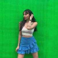 skirt Spring 2020 S, M Blue lattice Short skirt Versatile High waist Ruffle Skirt Type A 18-24 years old 30% and below other other