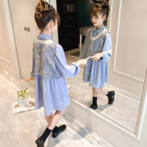 suit Other / other blue 110cm,120cm,130cm,140cm,150cm,160cm female spring and autumn Korean version Long sleeve + skirt 2 pieces routine There are models in the real shooting Socket nothing Solid color Cotton blended fabric children birthday Class B Polyester 100% Chinese Mainland