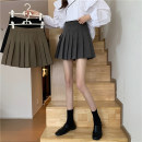 skirt Spring 2021 S,M,L,XL Grey, black, card Short skirt Sweet High waist Pleated skirt Solid color Type A 18-24 years old 1/30 other fold solar system