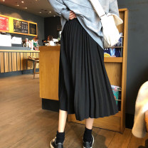 skirt Summer 2020 Average size Black, apricot, khaki Mid length dress commute High waist Pleated skirt Solid color Type A 18-24 years old twelve point one seven More than 95% polyester fiber Korean version