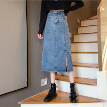 skirt Spring 2021 S,M,L,XL blue Mid length dress commute High waist A-line skirt 18-24 years old 3/10 Korean version