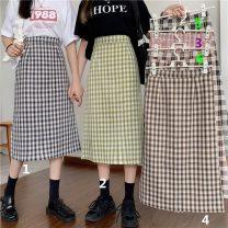 skirt Summer 2021 S,M,L Black No.1, green No.2, pink No.3, card No.4, black No.5, card No.6 Mid length dress Versatile High waist A-line skirt lattice Type A 18-24 years old 3*28