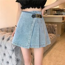 skirt Summer 2021 S,M,L Blue, black Short skirt commute High waist A-line skirt Solid color 18-24 years old 4*8 Korean version