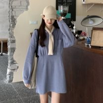 Dress Autumn 2020 Light blue, black, pink Average size Mid length dress Long sleeves commute Scarf Collar Loose waist Solid color A-line skirt routine 18-24 years old Type H Korean version pocket 1*5
