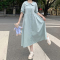 Dress Summer 2021 White, bean green Average size Mid length dress singleton  elbow sleeve Sweet Doll Collar 18-24 years old Type A 4/8 solar system
