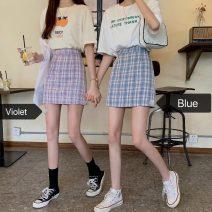 skirt Autumn 2020 S,M,L Purple grid, blue grid Short skirt Versatile Natural waist A-line skirt lattice Type A 18-24 years old 4+26 31% (inclusive) - 50% (inclusive) other other
