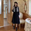 Dress Winter 2020 Black, card Average size Mid length dress Two piece set Long sleeves Sweet 18-24 years old 10*30 college