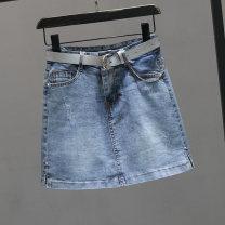 skirt Spring 2020 S,M,L,XL,2XL wathet Short skirt commute High waist Denim skirt Solid color Type A 25-29 years old K1026 81% (inclusive) - 90% (inclusive) Denim Other / other cotton Make old, split Korean version