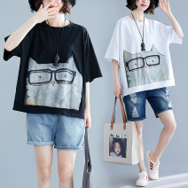 Women's large Summer 2020, spring 2020 Light blue, white, black Average size [120-220 Jin] T-shirt singleton  commute easy thin Socket Short sleeve Cartoon animation Korean version Crew neck routine cotton printing and dyeing routine Asymmetry 96% and above Medium length other Cotton 96% and above