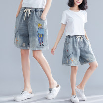 Jeans Summer 2020 wathet M [100-120 Jin], l [120-140 Jin], XL [140-160 Jin], 2XL [160-180 Jin], 3XL [180-200 Jin] shorts Natural waist Wide legged trousers Thin money Worn, washed, embroidered Thin denim light colour Other / other 96% and above