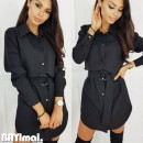 Dress Summer 2020 black S,M,L,XL,2XL,3XL Middle-skirt singleton  Long sleeves street V-neck High waist Solid color Single breasted routine Others Other / other Lace up, button 51% (inclusive) - 70% (inclusive) other polyester fiber