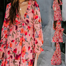 Dress Spring 2021 Pink S,M,L,XL,2XL,3XL Mid length dress singleton  Long sleeves street V-neck High waist Decor Socket Pleated skirt bishop sleeve Others 18-24 years old Type H Other / other Print, fold 21312114# 31% (inclusive) - 50% (inclusive) other polyester fiber Europe and America