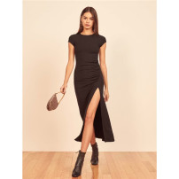 Dress Summer 2021 black XS,S,M Mid length dress singleton  Short sleeve street Crew neck High waist Solid color Socket Irregular skirt routine Others 25-29 years old Type A Fold, asymmetric 81% (inclusive) - 90% (inclusive) other other Europe and America
