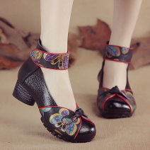 Low top shoes Other / other Round head Top leather Thick heel Middle heel (3-5cm) Shallow mouth PU Summer of 2019 Velcro Single shoes