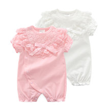 Jumpsuit / climbing suit / Khaki alooughe Class A female Light pink light pink natural Silver Pink dazzle pink big white pink lace collar flat angle white lace collar flat angle white milky white pink off white cotton summer Short sleeve Short climb lady No model nothing Cotton 100%