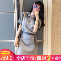Women's large Summer 2021 Black [for slightly fat girls] gray [for slightly fat girls] S M L XL 2XL 3XL 4XL skirt Two piece set Sweet easy moderate Socket Short sleeve Solid color Polo collar routine Three dimensional cutting routine DDFS8174 Beauty 18-24 years old Three dimensional decoration bow