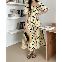 Dress Summer 2021 Yellow, blue, black S,M,L longuette singleton  Short sleeve commute square neck High waist other Socket other puff sleeve Others 25-29 years old Type X Smzy / Aestheticism Korean version fold F89779 81% (inclusive) - 90% (inclusive) other cotton