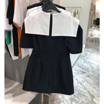 Dress Summer 2021 Black, white S,M,L Mid length dress singleton  Short sleeve commute Crew neck High waist Solid color Socket A-line skirt routine 25-29 years old Type A Smzy / Aestheticism Korean version 91% (inclusive) - 95% (inclusive) cotton
