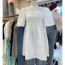 Dress Spring 2021 white S,M,L Mid length dress singleton  Short sleeve commute square neck Loose waist Solid color Socket puff sleeve Others 25-29 years old Type A Smzy / Aestheticism Korean version fold F89748 91% (inclusive) - 95% (inclusive) other cotton