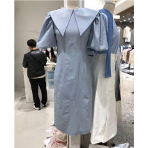 Dress Summer 2021 Black, grayish blue S,M,L Mid length dress singleton  Short sleeve commute Doll Collar High waist Solid color Socket puff sleeve Others 25-29 years old Type X Smzy / Aestheticism Korean version F89873 More than 95% cotton